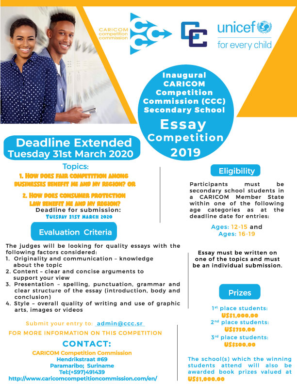 Caricom Competition Commission (CCC) Secondary School Essay Competition Flyer